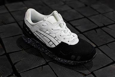 Мужские кроссовки Asics Gel-Lyte 3.Черные с белым,Замша