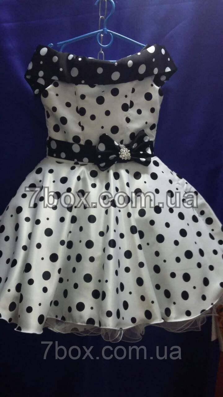Детское нарядное платье Стиляга -1 . Планочка, в горох горох. 9-10 лет.