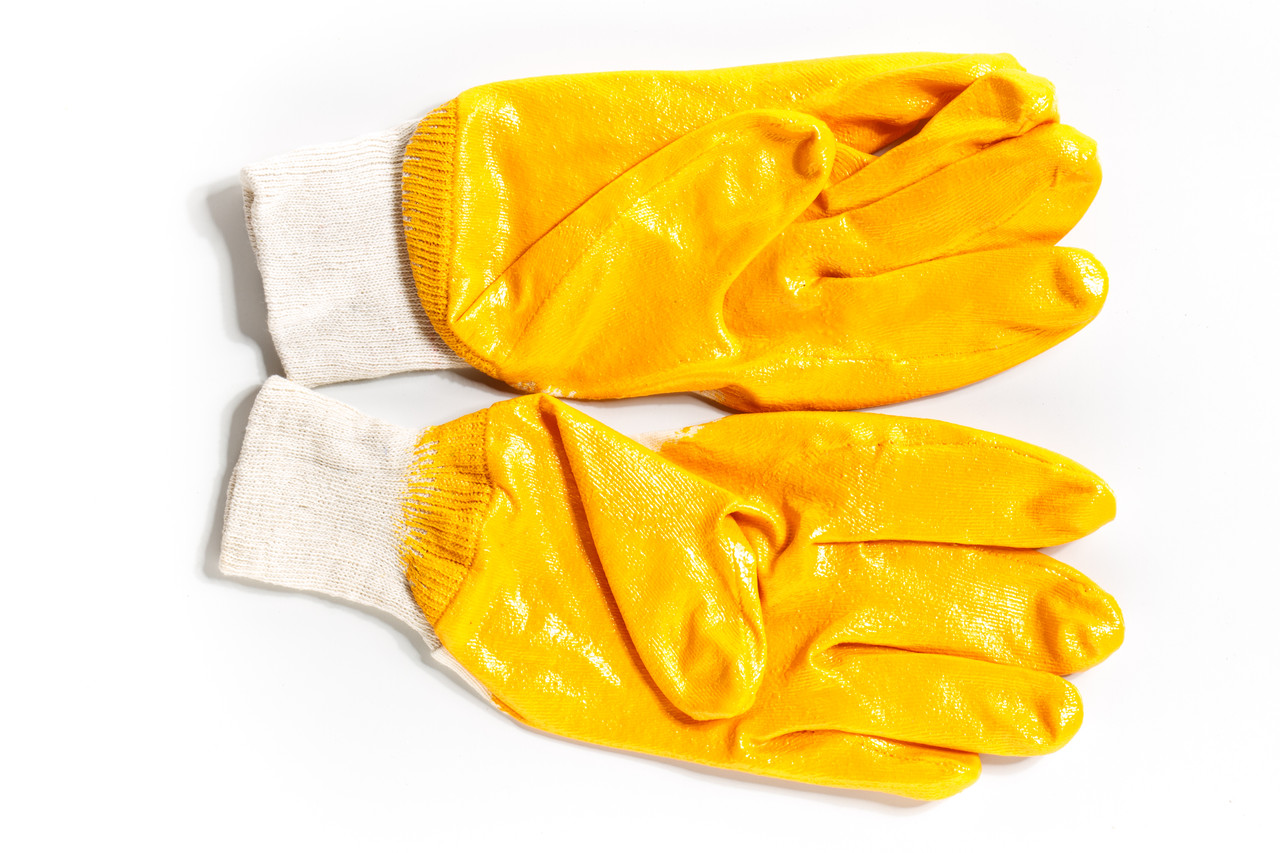 Перчатки нитрил(неполный облив) оранж