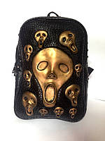 Мужской рюкзак 3D с золотыми черепами