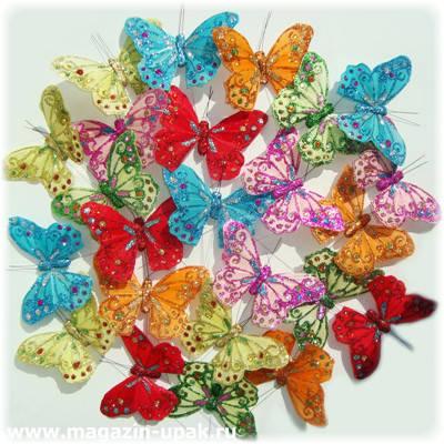 Бабочка декоративная на прищепке, 18 см, флористика, оптом