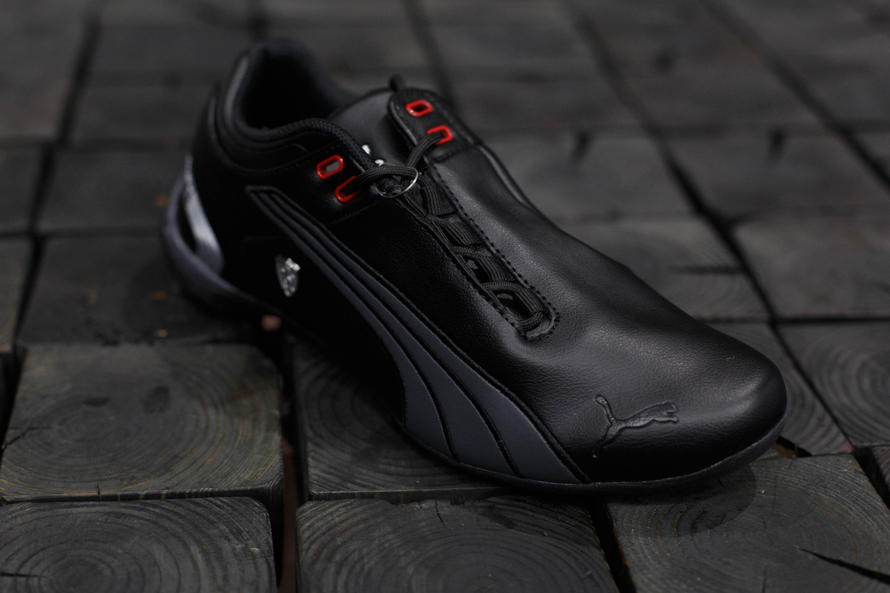 Мужские кроссовки Puma Ferrari.Черные,ЭКО кожа