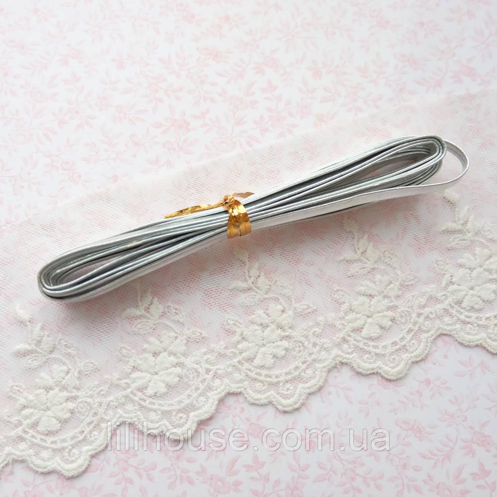 Ремень для кукол, отрез 50 см, ширина 5 мм - серебро