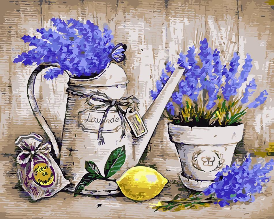 Картина раскраска Натюрморт с лавандой и лимоном ArtStory AS0012 40 х 50 см
