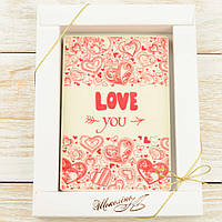 "Шоколадная открытка ""LOVE YOU"" классическое сырье. Размер: 187х142х10мм, вес 170г , фото 1"