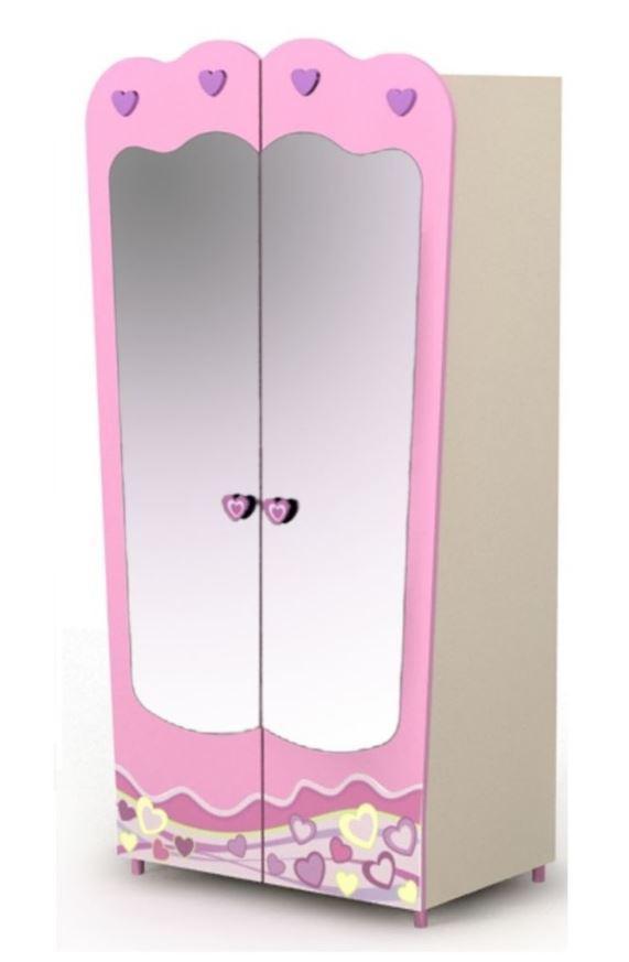 Двухдверный шкаф Pn-02-3 Pink+зеркала Pn-07-2
