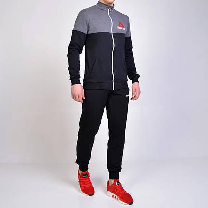 Спортивний костюм Reebok (Рібок) / трикотаж-двухнитка - чорний з сірим, фото 2