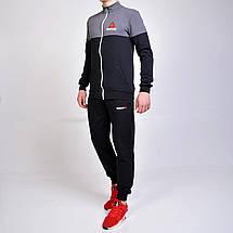 Спортивний костюм Reebok (Рібок) / трикотаж-двухнитка - чорний з сірим, фото 3