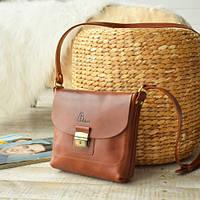 Женская кожаная сумка Мелани | Коньяк, фото 1