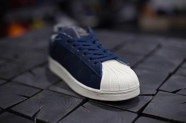 Кеды мужские Adidas Superstar II.Синие,Замша, фото 2