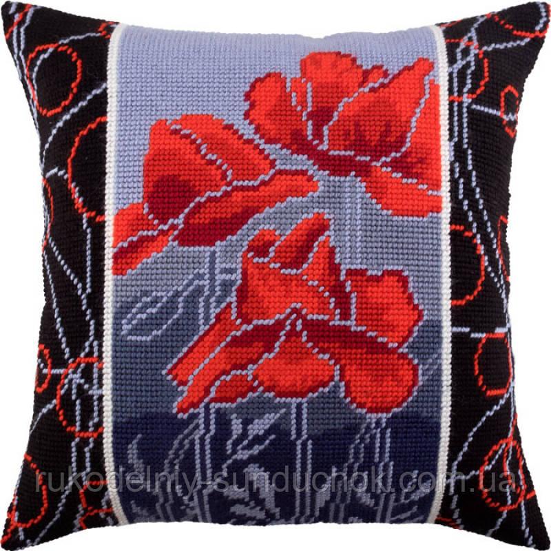 Набор для вышивки крестом Чарівниця V-182 Маки ночью. Подушка