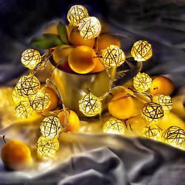 Светодиодные гирлянды на батарейках из плетеных шариков, звездочек и сердечек