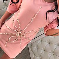 Красивое женское короткое платье полиэстер с жемчугом розовое, черное