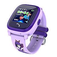 Детские умные сенсорные часы с GPS трекером Q300s/DF25 (водонепроницаемые) Фиолетовые