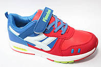 Весенние кроссовки для девочек  на липучках 32,33,34 крассные с синим