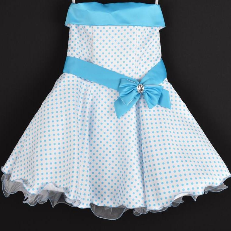 """Платье нарядное детское """"Стиляги"""". 6 лет. Корсет с открытыми плечам. Белое в голубой горох. Оптом и в розницу"""