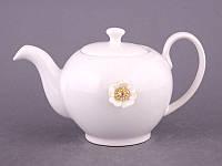 """Чайник заварочный 600 мл. керамический """"Цветок"""" белый со стразами"""