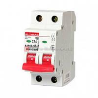 Двухполюсный автоматический выключатель 2р, 16А, C, 4.5 кА, e.mcb.stand.45.2.C16 автомат двухполюсный 16а