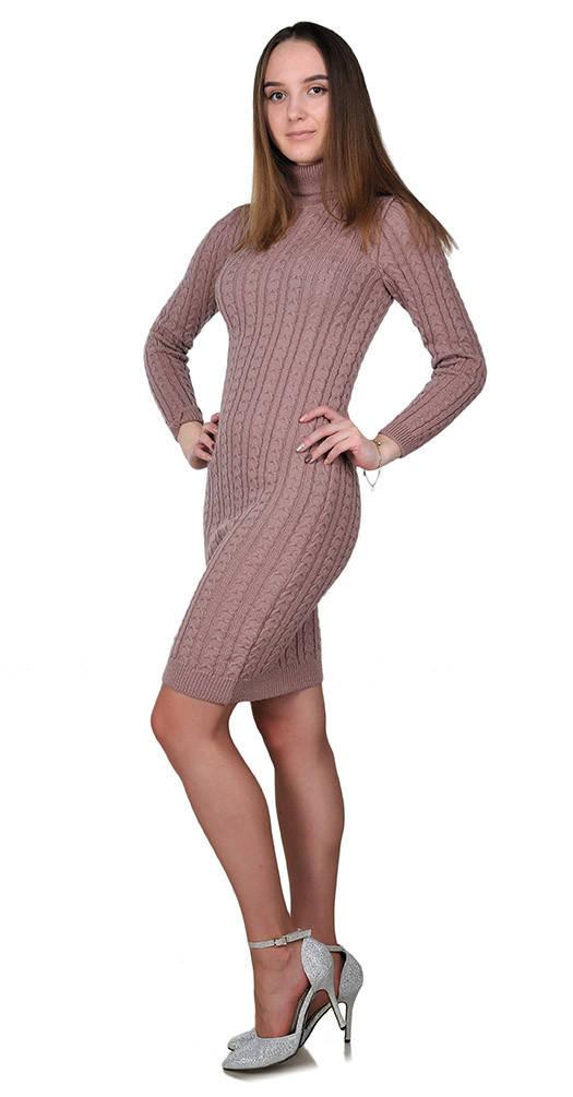 Вязаное платье под горло розовое