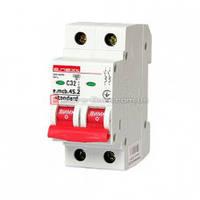 Двухполюсный автоматический выключатель 2р, 32А, C, 4.5 кА, e.mcb.stand.45.2.C32 автомат двухполюсный 32а