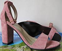 Viva! Красивые женские замшевые красные открытые  босоножки каблук 10 см лето цвет пудра , фото 1