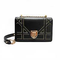 Стильная модная женская сумка Dior Diorama на цепочке черного цвета, фото 1