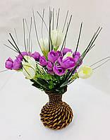 Букет крокусов в плетеной вазе, Н36 см, Подарки и сувениры, Днепропетровск