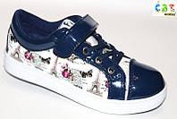 Весенние туфли-слипоны для девочек  на липучке 32,33,34,35,36,37 синие