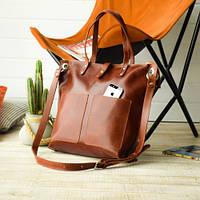 Вместительная женская сумка-shopper   Коньяк, фото 1