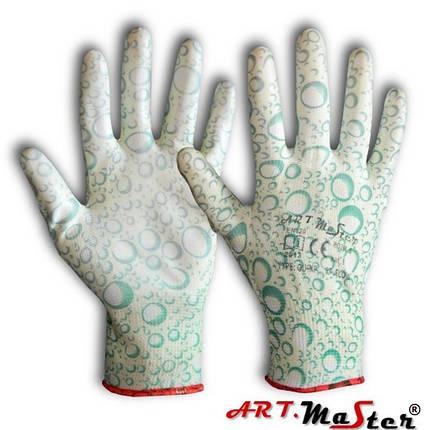 Перчатки садовые нейлоновые RPuFlow с полиуретановым покрытием, ARTMAS, размер М, фото 2