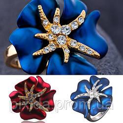 Кольцо цветок эмаль-бархат покрытие платина или золото 3 видов камни сваровски Новая цена