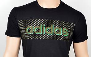 """Мужская футболка """"Adidas 18020"""" черный+зелен"""