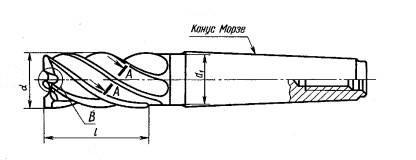 Фреза концевая Ø 24 5-х 165/60  Р6М5  КМ3