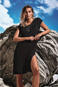Чорна жіноча пляжна туніка з коротким рукавом та вишивкою Miss Marea 18467