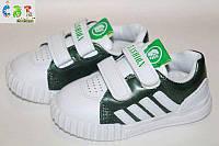 Стильные кеды-кроссовки на липучках белые детские 24р.