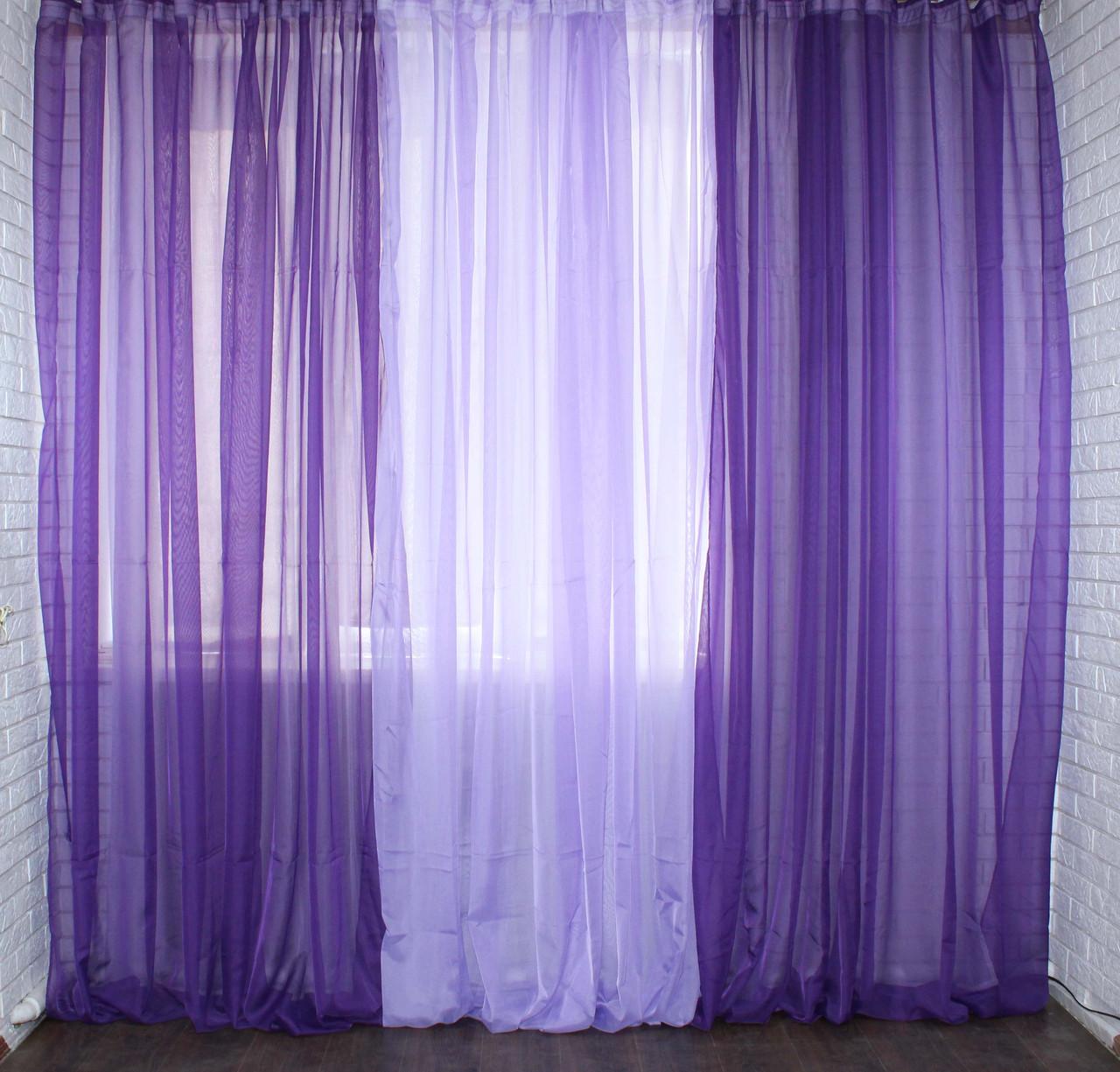 Готовая шифоновая гардина.Цвет фиолетовый с сиреневым 002дк