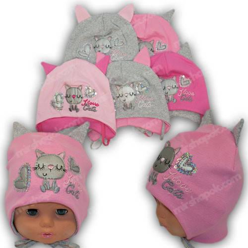 Детские трикотажные шапочки с завязками, р. 46-48
