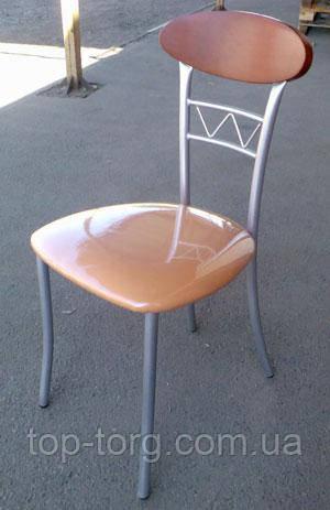 Стілець Бруклін металевий, сатин, м'яке сидіння, персиковий кожзам (екошкіра)