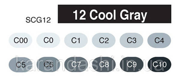 """Набор Маркеров COPIC 12 шт Marker Set """"CG"""" Серые тона 20075 151, фото 2"""