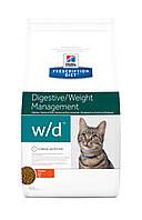 Hill's PD Feline W/D-1.5кг Предотвращает ожирение, колиты, запоры, сахарный диабет у кошек