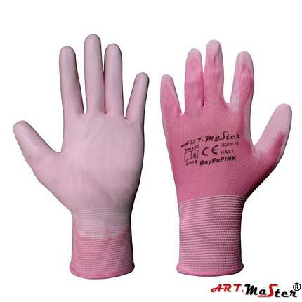 Перчатки Rnypu Pink с полиуретановым покрытием, розового цвета, ARTMAS, р.8, фото 2