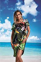 Чорна туніка для пляжу із цікавим орнаментом на короткий рукав Miss Marea 18490 розмір М