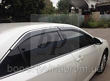 Дефлекторы окон (ветровики) с хром полосой из нерж. (кантом-молдингом) Toyota Camry xv55 (Тойота Камри 55 2015