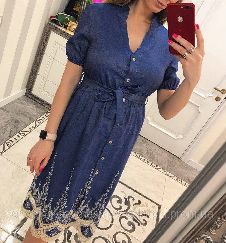 1916ee2be8d Женское джинсовое платье рубашка с вышивкой купить в Украине