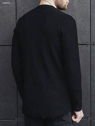 Мужской демисезонный вязаный свитер Staff long black KN0016, фото 2