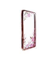 Прозрачный чехол с цветами и стразами для Meizu U10 с глянцевым бампером Розовый золотой/Розовые цветы