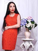 Трикотажное короткое платье с жемчугом (разные цвета)