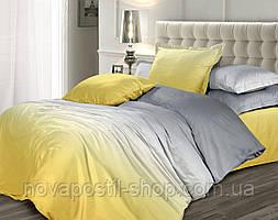 Желтый шафран, однотонное постельное белье омбре из сатина
