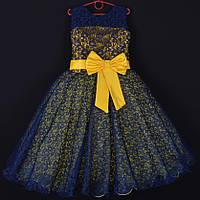 """Платье нарядное подростковое гипюровое """"Фея"""". 9 лет. Средняя длина. Желтое. Оптом и в розницу, фото 1"""