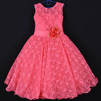 """Платье нарядное подростковое гипюровое """"Камила"""". 9 лет. Средняя длина. Коралловое. Оптом и в розницу, фото 1"""